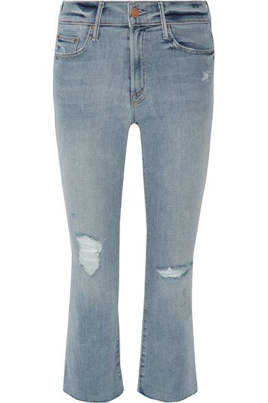 Mother - The Insider Crop Distressed High-rise Flared Jeans - Blue - 30