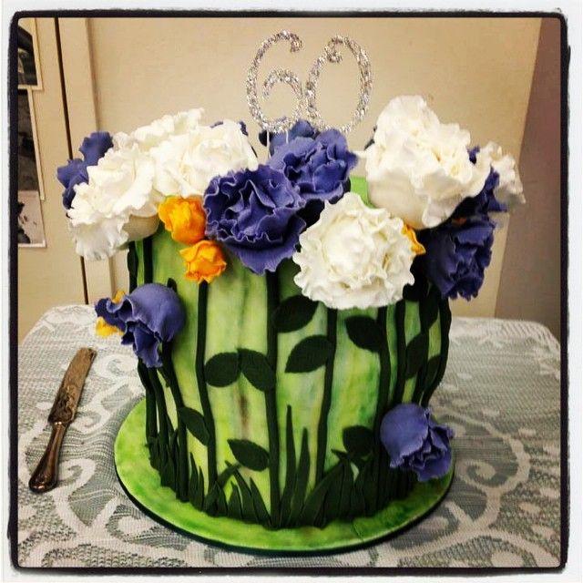 60th Flower Cake #imadeacake