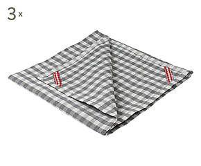 3 Torchons OCIE coton, gris et blanc - L60
