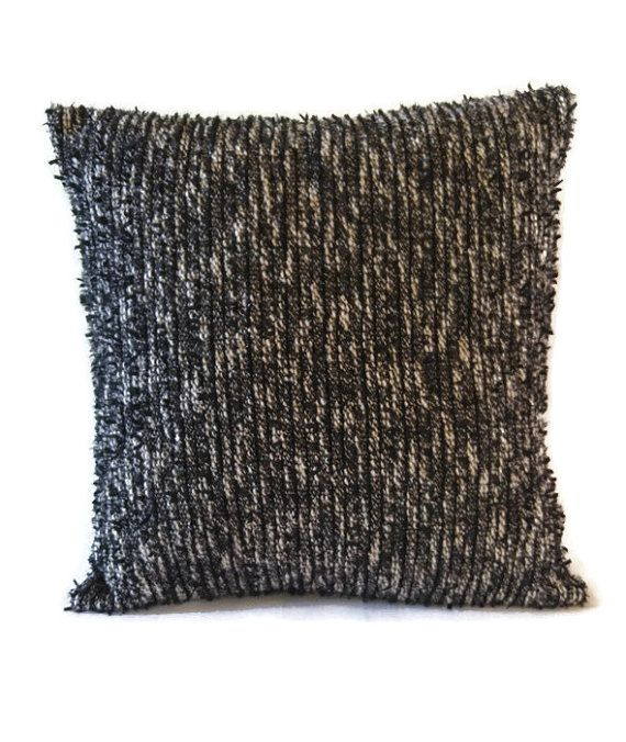 Black textured pillow cover / handmade black and white accent