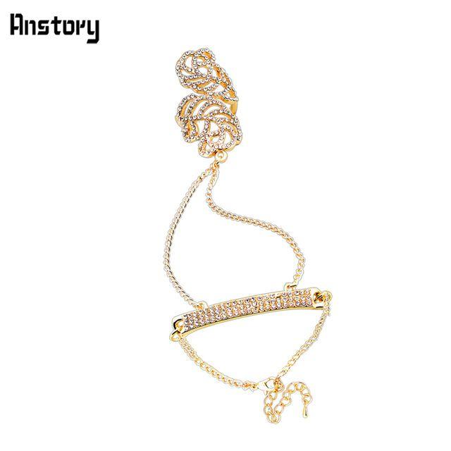Design de moda banhado a ouro pulseira flor Set jóias anéis partido TS247