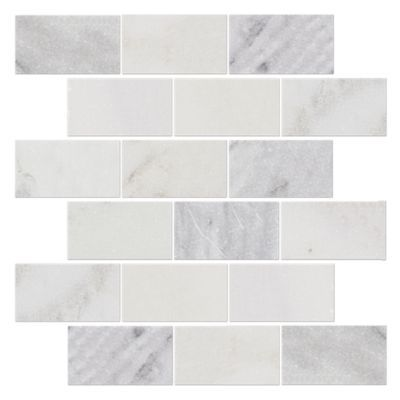 For Hampton Carrara Tumbled Amalfi Marble Mosaic Tile 2 X 4 In At The