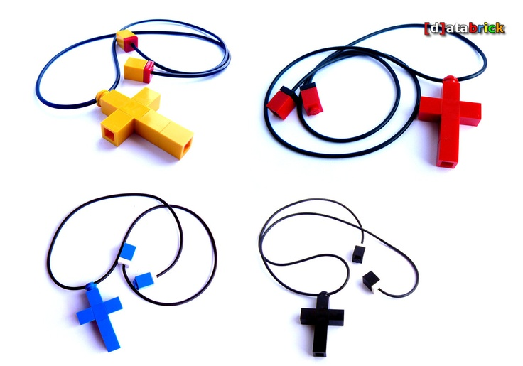 Necklace Cross Pendant made with Lego Parts many availalble colours