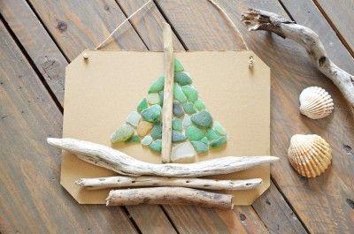 diy-tableau-marin-bois-flotte-et-verre-depoli a essayer sur une toile de jute