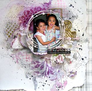 Happiness Layout - Scrapmatts chipboards & stencils, Tattered Angels paints & mistable paper, Canvas Corp Plaid Paper from Heirloom collection