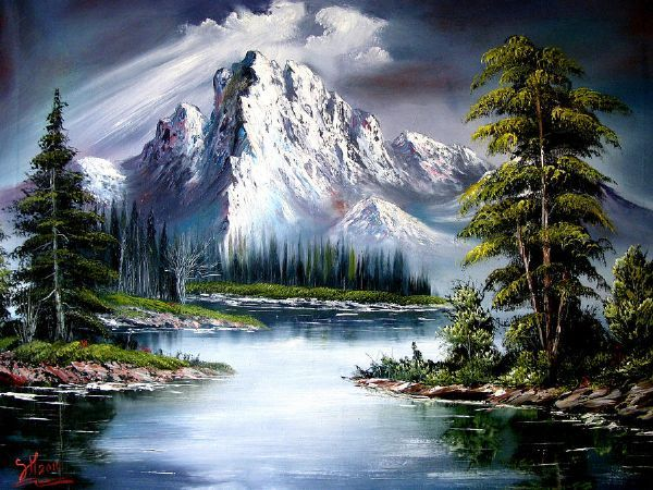 bob ross painting. look at all the happy trees!