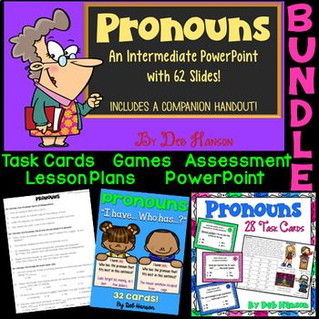 "This bundle contains multiple resources for teaching students about pronouns. Personal pronouns, possessive pronouns, possessive adjectives, and reflexive pronouns are addressed in these resources. Pronoun-antecedent agreement and knowing when to use ""I"" vs. ""me"" in sentences are also addressed. By using these materials, students will be given many opportunities to practice identifying pronouns AND completing sentences with missing pronouns."