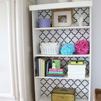 How to make over a bookcase with fabric and cardboard