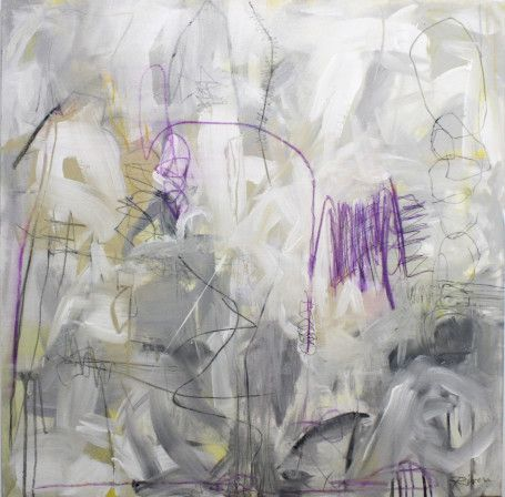 """Jennifer Rivera, """"Sand Between Her Toes and Lilacs in Her Hair"""",32"""" X 32"""", acrylic/graphite/pastel stick on canvas"""
