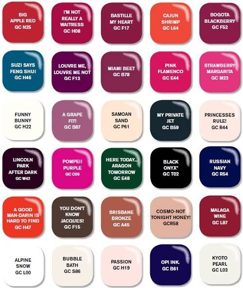 Nail Polish Chart: 17 Best Images About OPI Nail Polish Color Chart On
