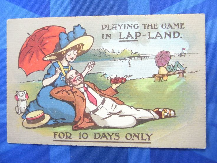 Reg Carter ? Comic Postcard 1910s Flapper Fashion BULLDOG - LAP LAND Theme