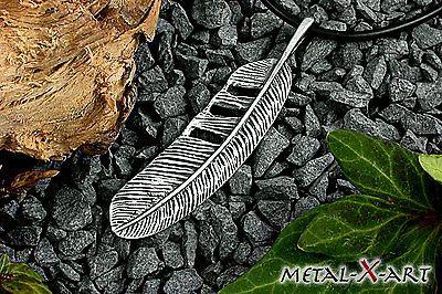 925 Sterling Silber, große Feder, Ketten-Anhänger, Biker, Indianerschmuck, Adler