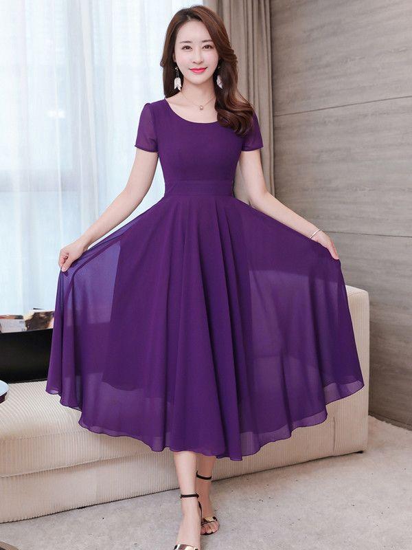 Wholesale Simple Short Sleeve Crew Neck Long Dresses CZG042528   Wholesale7.net