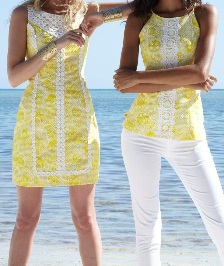Lilly Pulitzer MacFarlane Lace Detail Shift Dress & Annabelle Halter Top in Sunglow Kissed By The Sun