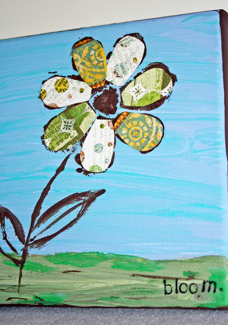 Small painting / small canvas, inspirational art, kids room canvas, bloom. $13.50, via Etsy.