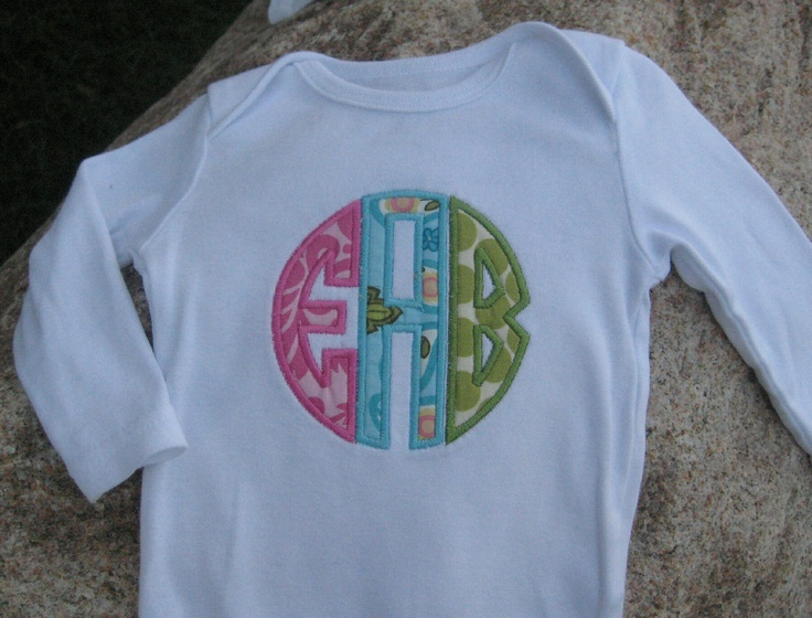 monogram onesie ideas: Girls Custom, Boys Or Girls, Monograms Style, Monograms Onesie, Monograms Ideas, Embroidery Stor Ideas, Custom Monograms, Monograms Shirts, Circles Monograms