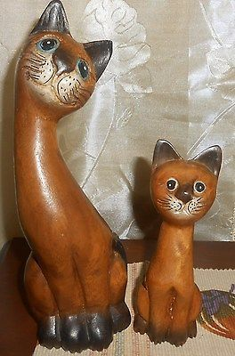 PAIR OF WOODEN MOTHER AND BABY CATS