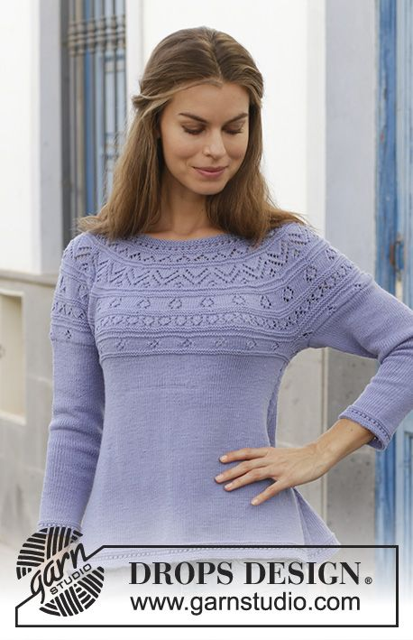 Knitted jumper with lace pattern and round yoke, worked top down. Sizes S - XXXL. The piece is worked in DROPS BabyMerino.