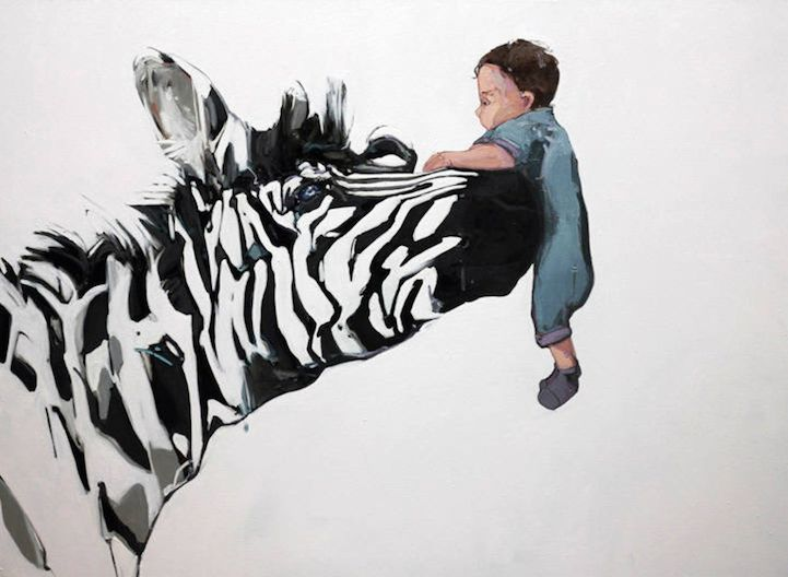 Paintings of Young Children Bonding with Playful Animals - My Modern Metropolis