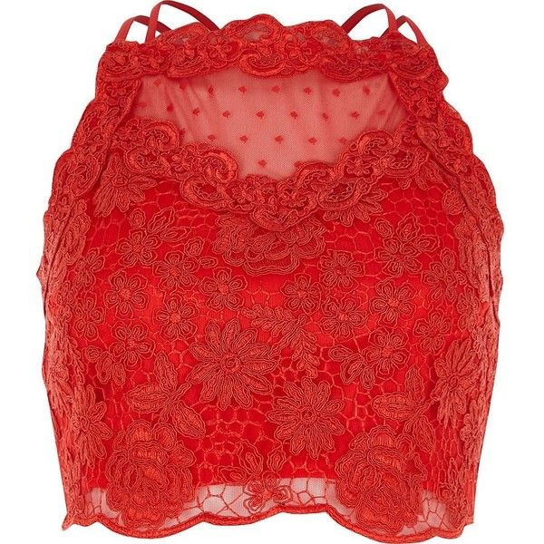River Island Red lace mesh crop top (£44) ❤ liked on Polyvore featuring tops, crop top, crop, red, shirts, crop tops / bralets, women, red crop top, lace bralette top and lace trim top