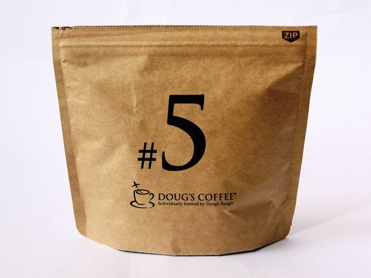 実例 ニコノスのクラフト チャック付スタンド袋に名入れをしたコーヒー豆のパッケージ パケログ コーヒー袋 ブライダル プチギフト コーヒー