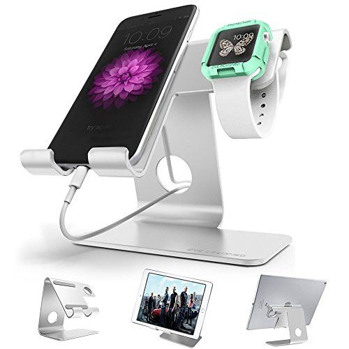 Universal 2 in 1 Desktop cell phone stand tablet stand holder,ZVE aluminum apple iwatch stands charging dock cradle For all Android Smartphone,iPhone 6 6s 7 Plus 5 5s 5c and Tablet (Up to 12.9 inch)