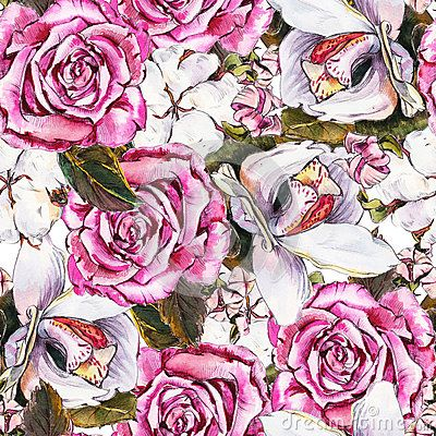 Romantic seamless floral pattern  with  Roses, Orchids and Cotton. Pencil drawing and watercolor. The pattern for light summer fabrics or wrapping paper.
