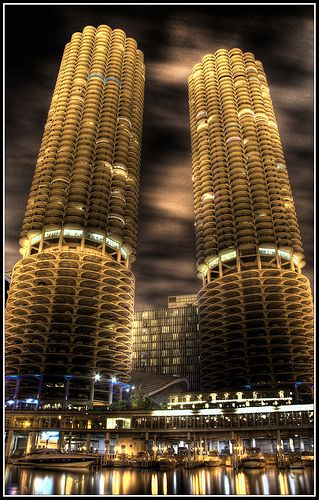 The Corn Towers, Chicago. Officially known as 'Marina Towers' in architectural circles they look amazing on the Chicago River.