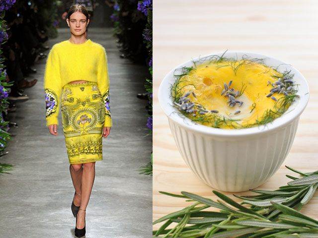 Givenchy fw 2011-12 / Baked eggs with gruyere cheese and wild fennel