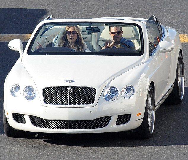 Arriving in style: J-Lo was driven to the studios by her boyfriend Casper Smart