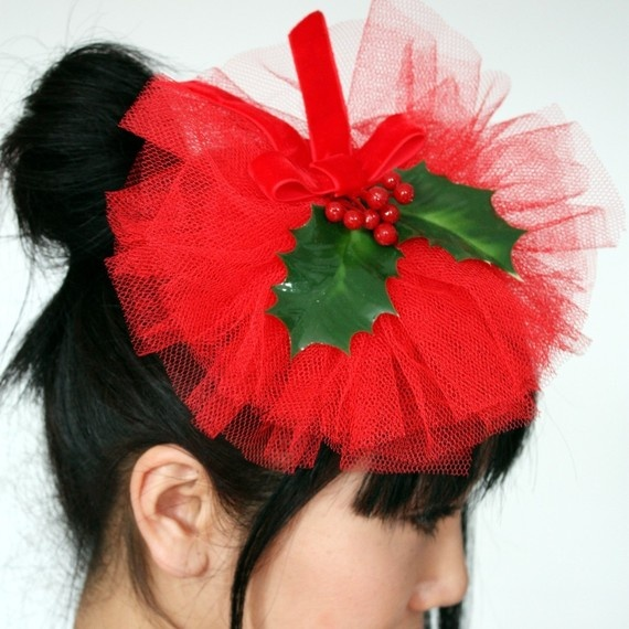 Christmas fascinator out of red tulle and holly berries maybe next year instead of ugly sweaters - fascinators? lol