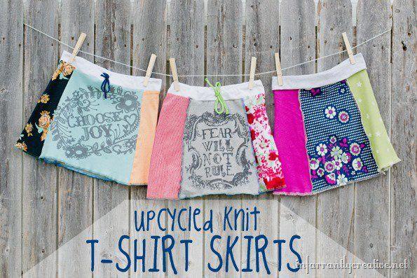 Easy upcycled t-shirt skirt tutorial.