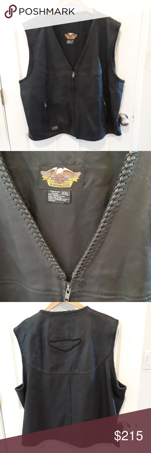 Harley-Davidson Willie G Leather Vest Beyond classic Harely-Davidson Wille G leather vest that zips up the front and has two zippered front pockets.  The logo is tooled on the back of the vest.  Excellent condition! Harley-Davidson Jackets & Coats Vests