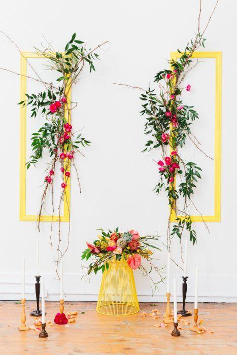 Ceremony Backdrop; Flower wall; Greenery; Modern Colourful Wedding Ceremony; Cocktails & Chill Wedding Inspiration; Gina Humilde Events; Toronto Niagara Wedding Planner
