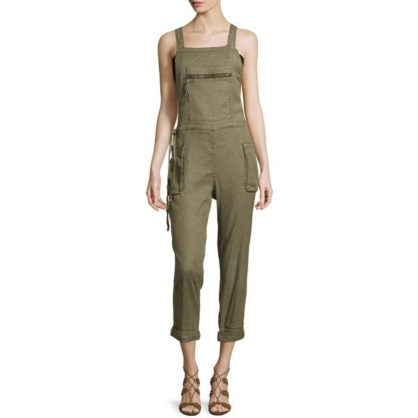 Free People Women's First City Overalls - Green, Size S ($85) ❤ liked on Polyvore featuring jumpsuits, green, brown overalls, green jumpsuit, bib overalls, free people overalls and overalls jumpsuit