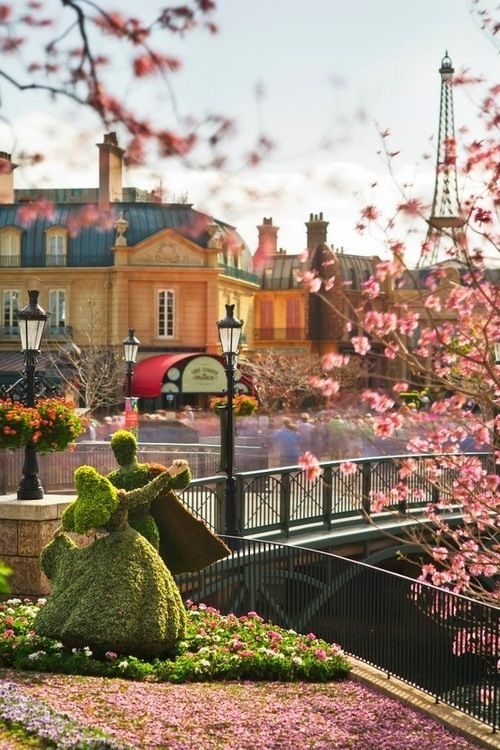 Walt Disney World during the 2013 Flower and Garden Expo, looking in to the France Pavilion in World Showcase