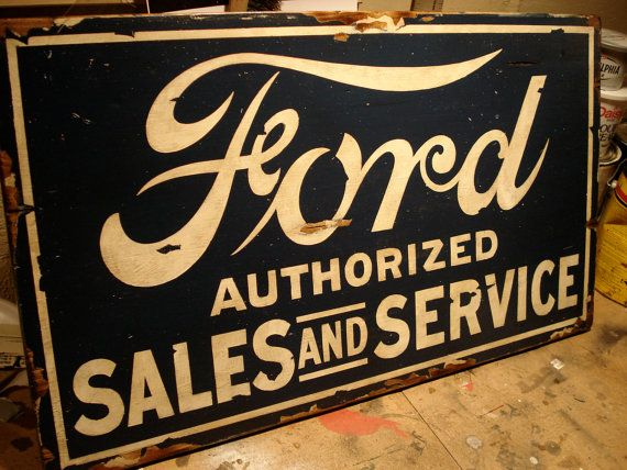 This hand-painted Ford Sales and Service sign was inspired by the vintage signs that hung in most old Ford dealerships! The sign is hand-crafted from poplar and pine and fitted with hardware for hanging. Dimensions are 18.5 x 30.5 and this sign is made to order. Perfect for any car enthusiast!  -Made to order items will vary slightly in wood grain, paint, and stain.