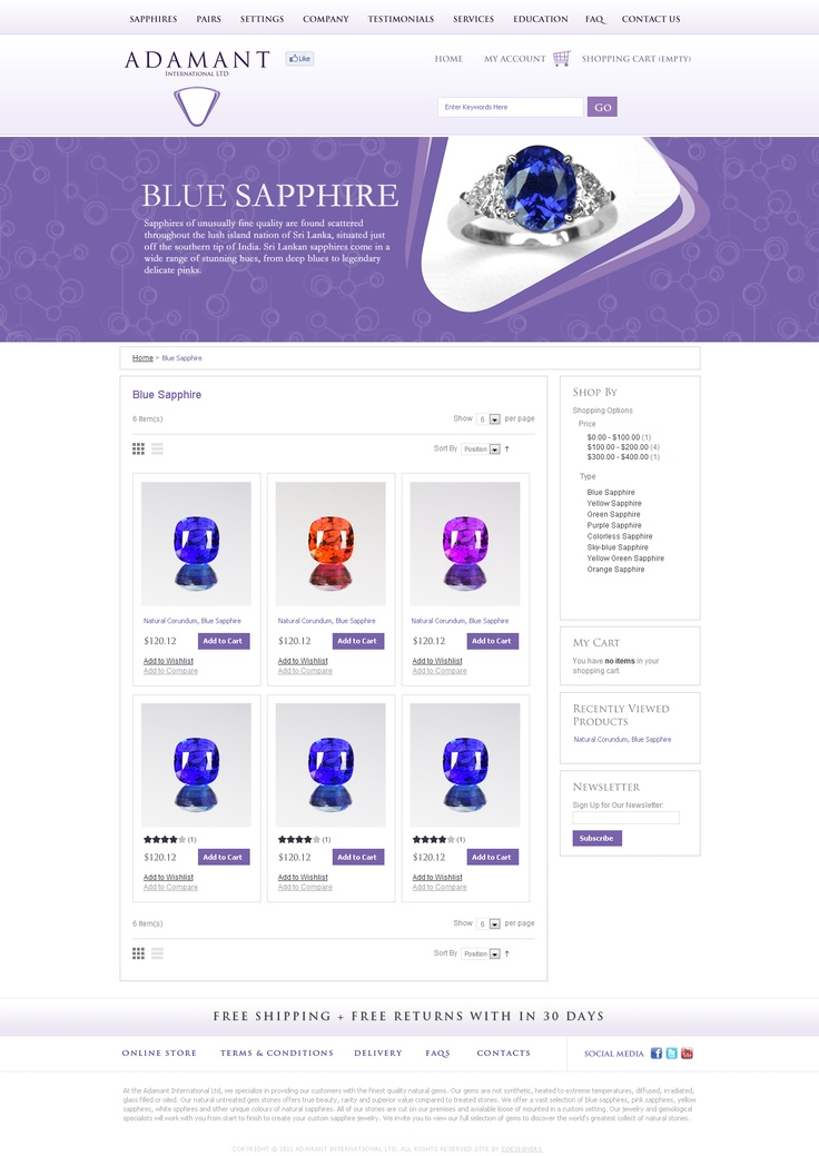 E-Commerce Portal for Adamant Gems, Croatia by eDesigners.