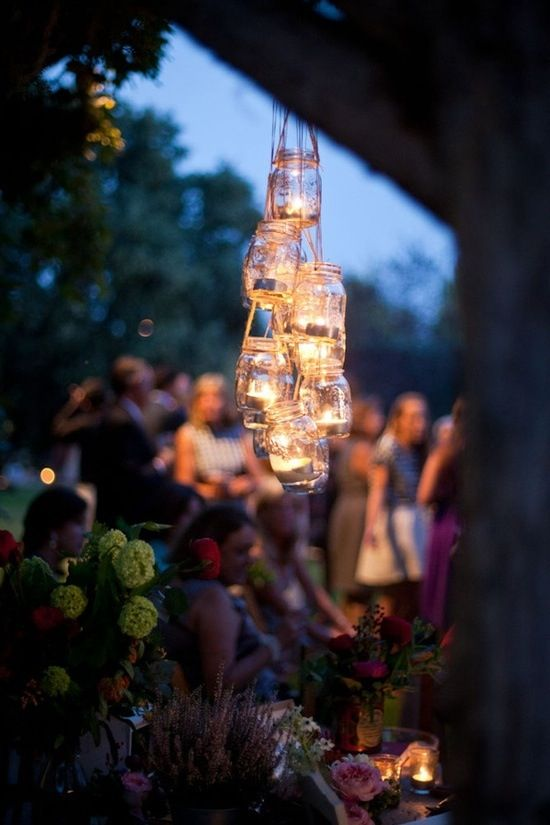 Outdoor lighting for a wedding.