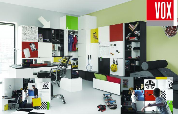 Detská izba YOUNG USERS by VOX - SCONTO NÁBYTOK-základné farby možno kombinovať pomocou farebných dosiek