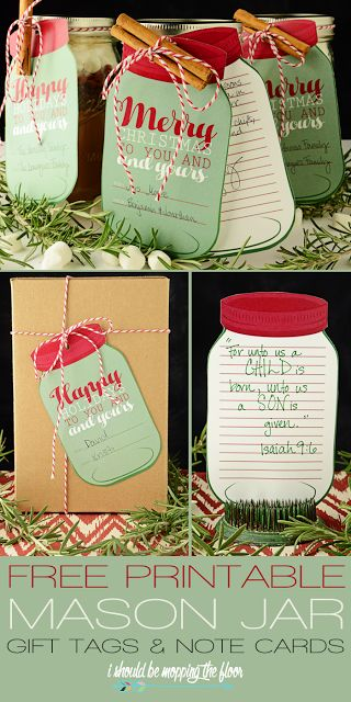 """Free Printable Mason Jar Gift tags are perfect for every kind of package under your tree! 