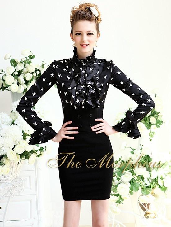 Morpheus Boutique  - Black Star Pattern Ruffle Collar Long Sleeve Hemline Shirt