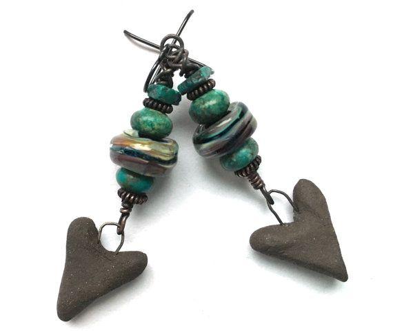 Boho Jewelry Rustic Earrings Turquoise Stone by SheFliesAgain
