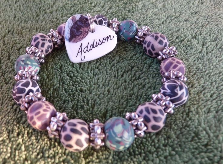 FIMO CHILDRENS GIRL NAME ADDISON HEART CHARM with Black Bear Smoky Mountains eu #unknowntome #stretchBRACELET