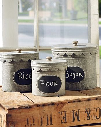 Tin Chalkboard Canisters (http://blog.hgtv.com/design/2013/08/27/daily-delight-tin-chalkboard-canisters/?soc=pinterest)