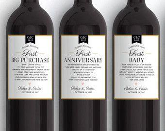 Wijnfles Labels voor eerste mijlpalen eerste gedichten van de