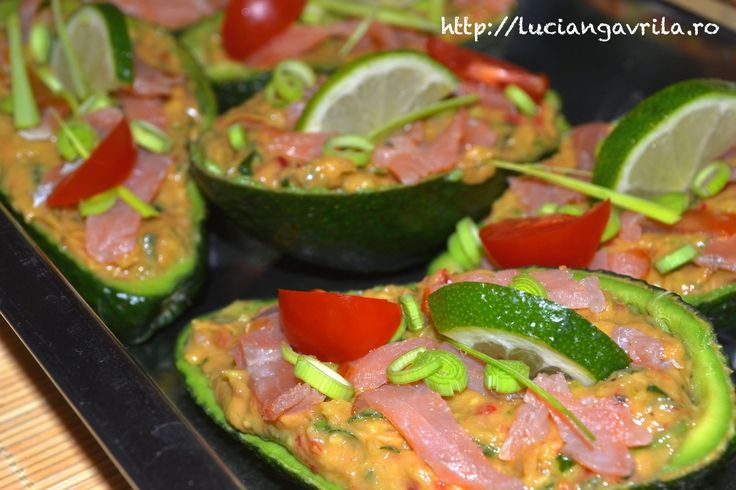 Guacamole with smoked salmon and anchovy