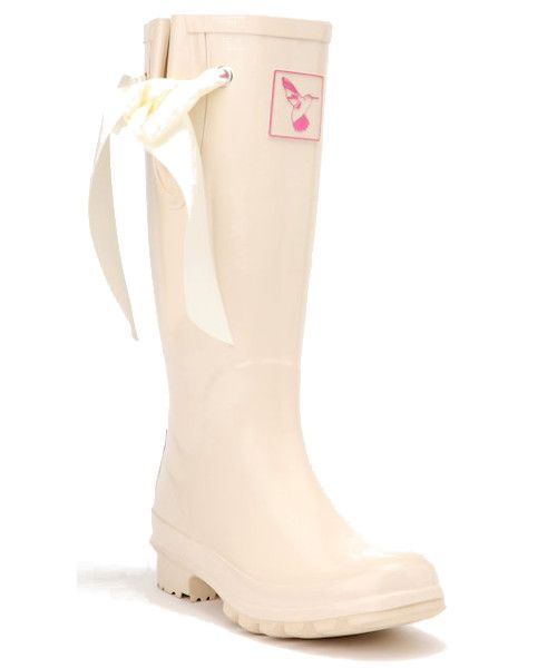 I DO Cream Bridal Wedding Wellies   Don't let rain ruin your big day! These adorable cream wellies are the new short edition of Evercreatures' famous wedding wellies. A delicate silk ribbon runs through the adjustable side gusset while the rich pink lining will be sure to ignite passions.  This wedding welly is a cream boot but will also go great if you are looking for white wedding wellies or ivory wedding wellies.  In the UK we never know when it might rain so bridal wellies are becoming…