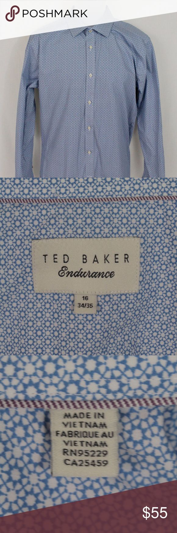 Ted Baker Endurance Dress Shirt Fine quality is now within reach with this gently used men's dress shirt. The navy and white patterning throughout presents a bold and stylish look for today's sartorial gentleman.  Size information: Size 16 34/35  Condition Notes: Excellent used condition. No stains, odors or fabric damage.  We will consider all reasonable offers. Thanks for shopping with us! Ted Baker Shirts Dress Shirts