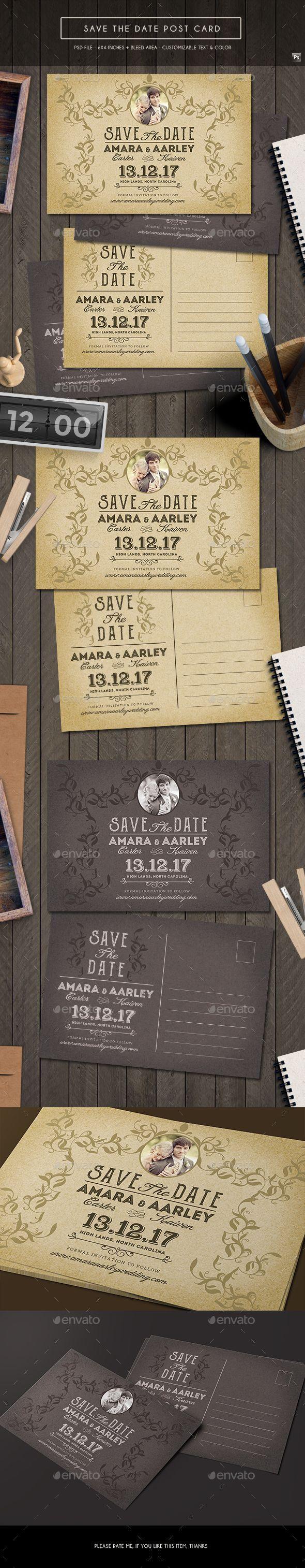 wedding invitation design psd%0A Vintage Save the Date Post Card